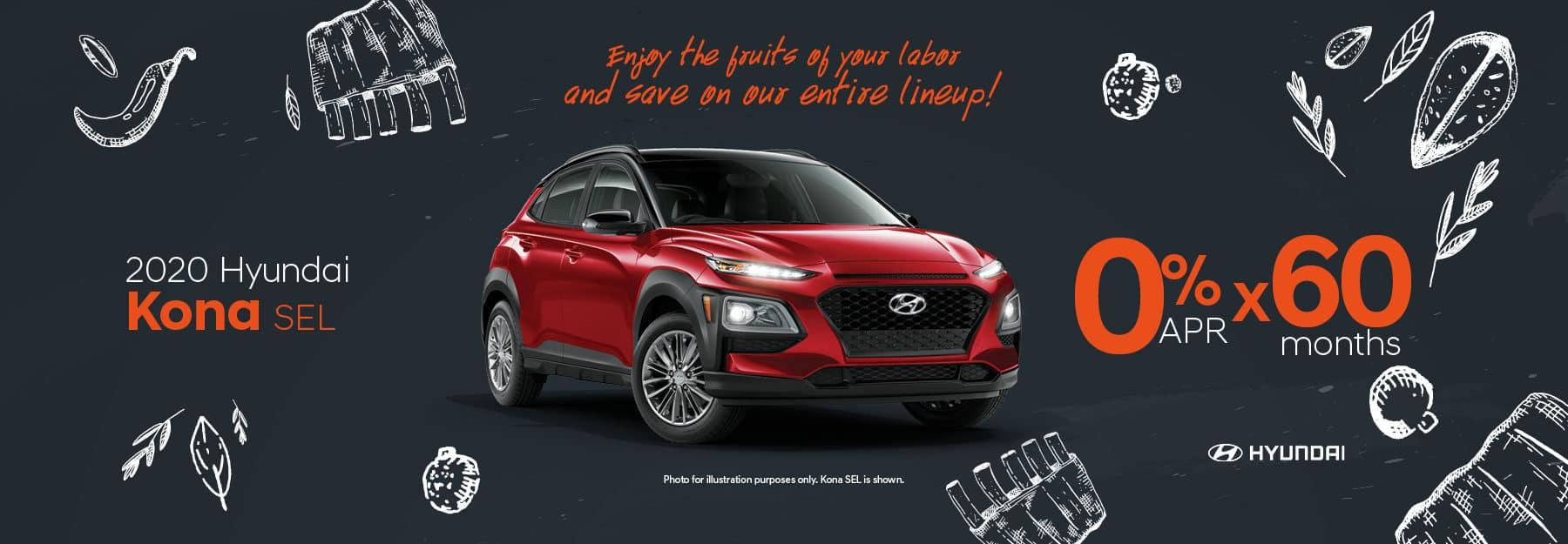 0% APR for 60 months on 2020 Hyundai Kona SEL