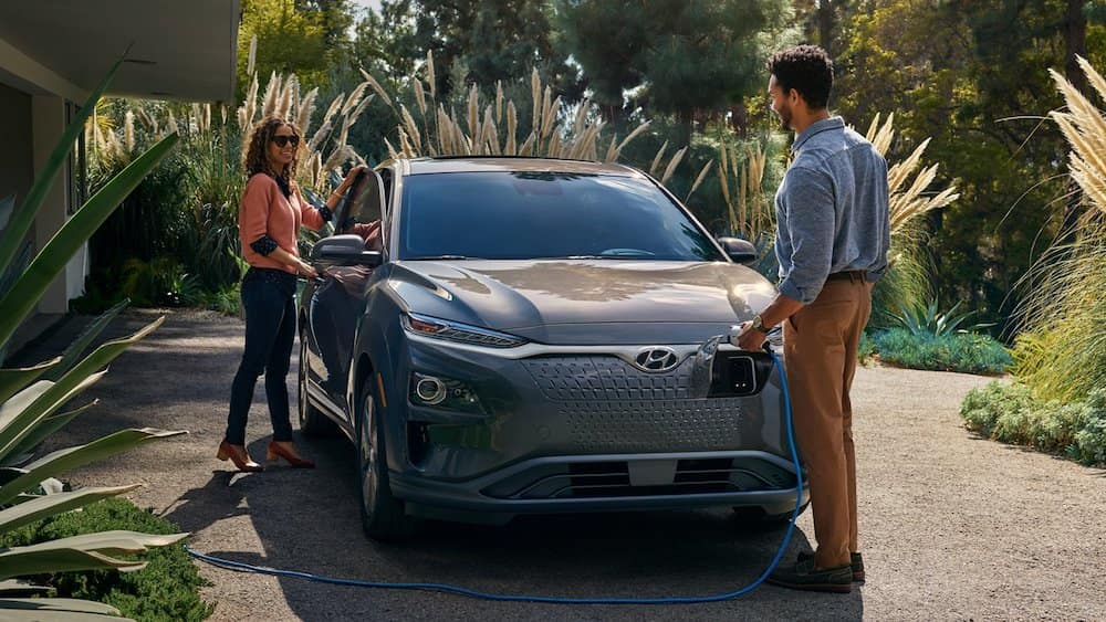 2021 Hyundai Kona Electric being charged by owner.