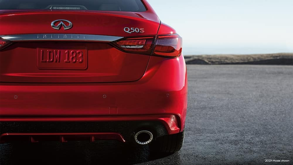 A close up shot of the back end of a 2020 INFINITI Q50
