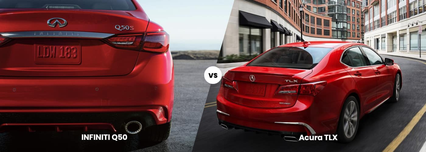 INFINITI Q50 and an Acura TLX side by side comparison image