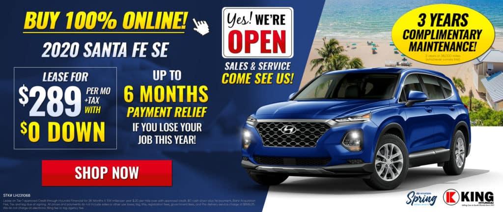 2020 Hyundai Santa FE SE Lease for $289 per mo/ $0 Down !
