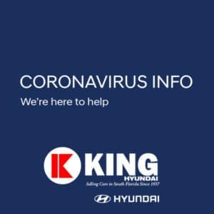 King Hyundai Coronavirus Response We're Here To Help White Text on Navy Blue Background