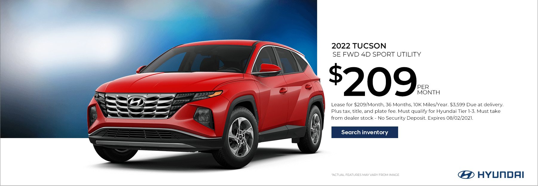 Lease a New 2022 Tucson SE for $209/Month for 36 Months