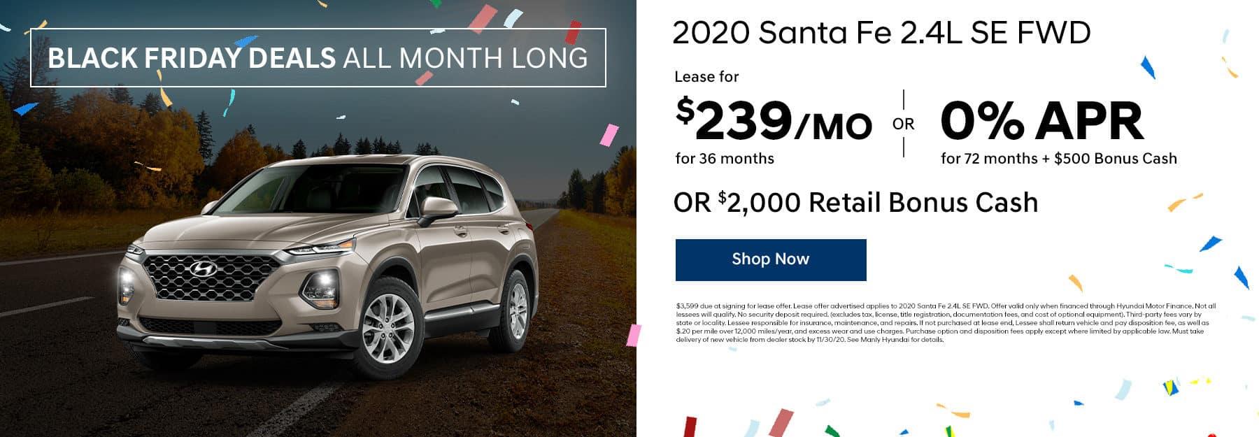 2020 Santa Fe 2.4L lease, apr, and cash offer