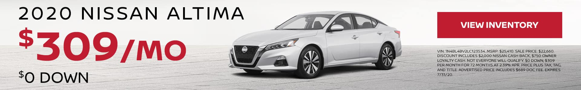 2020 Nissan Altima $0 Down $309 per month