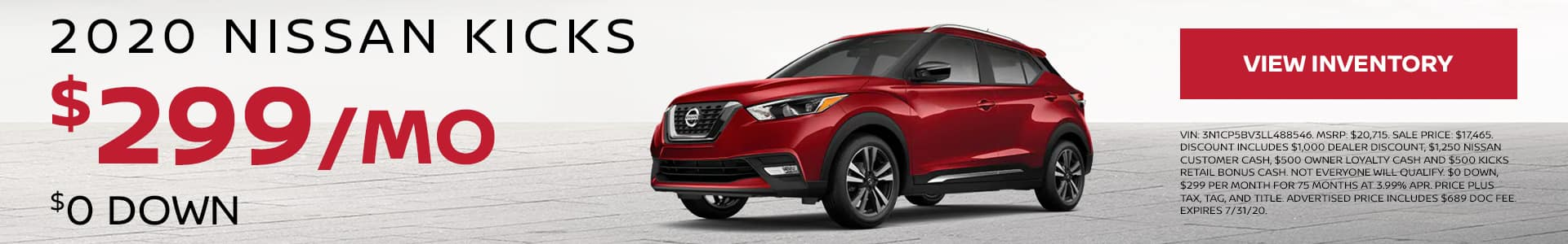 2020 Nissan Kicks $0 Down $299 per month