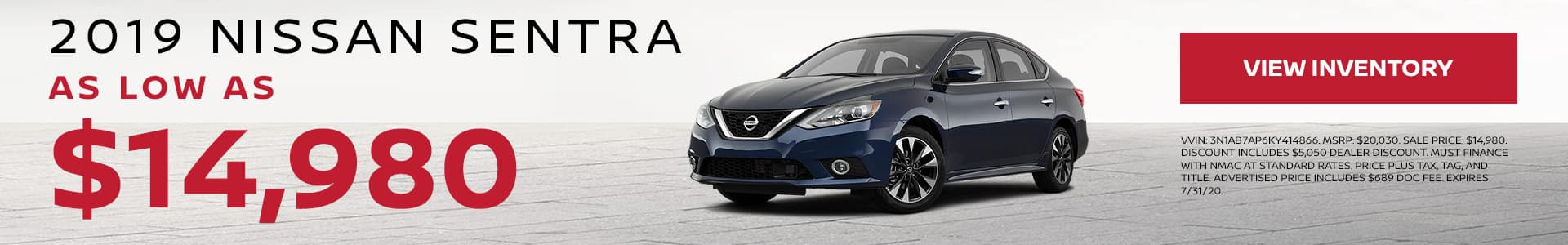 2019 Nissan Sentra As Low As $14,980