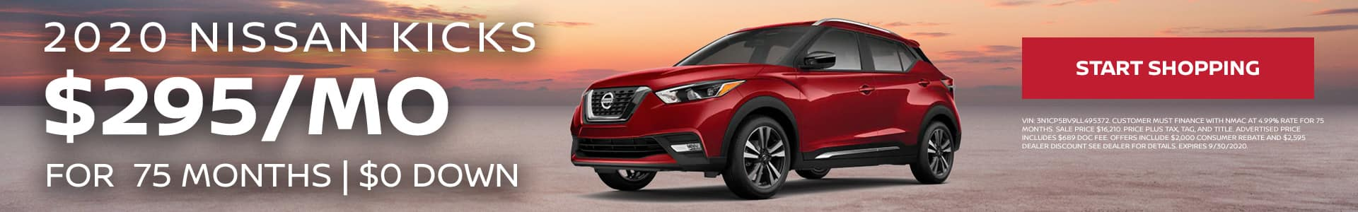 2020 Nissan Kicks - $295/mo for 75 months with $0 down