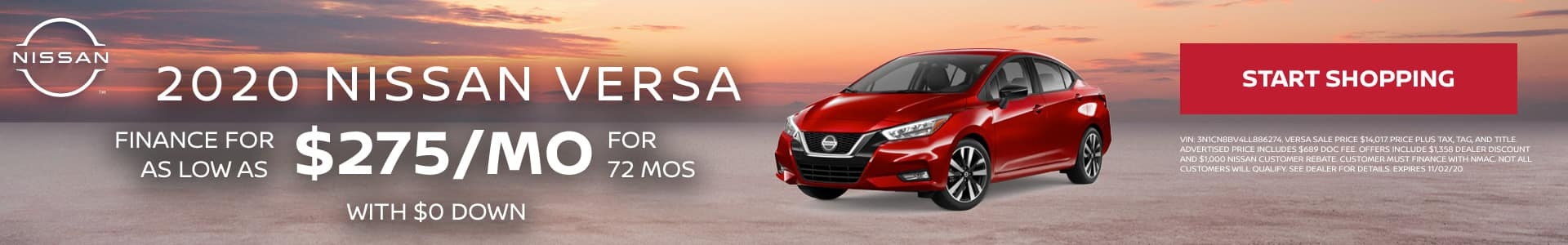 2020 Nissan Versa, as low as $275 per month with $0 Down