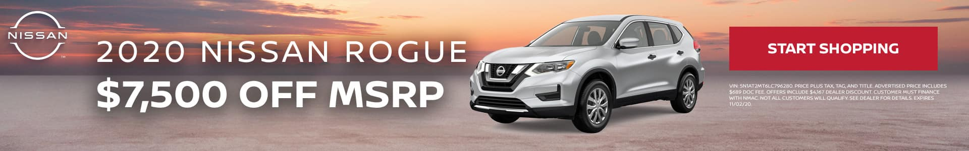 2020 Nissan Rogue - $7,500 off MSRP