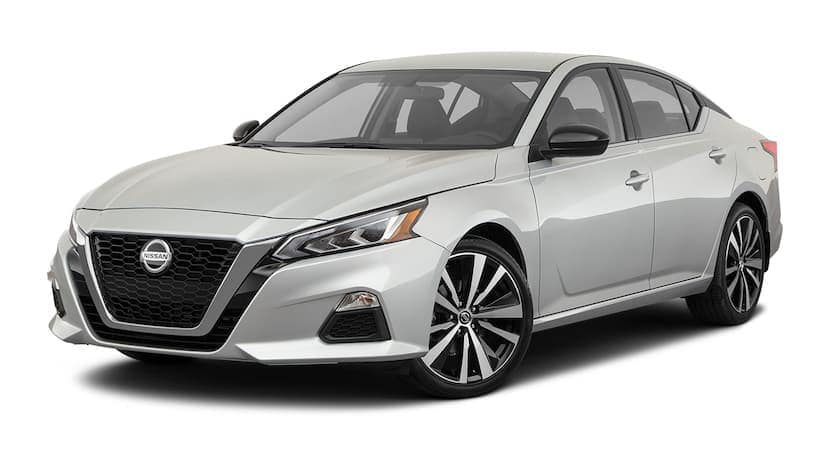 A white 2021 Nissan Altima is angled left.
