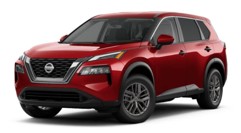 A red 2021 Nissan Rogue is angled left.