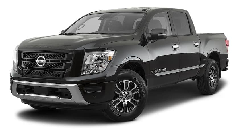 A black 2021 Nissan Titan is angled left.