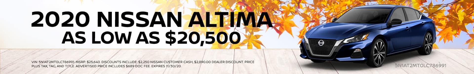 2020 Nissan Altima starting at $20,500
