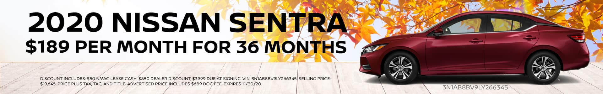 Lease 2020 Nissan Sentra $189 per month