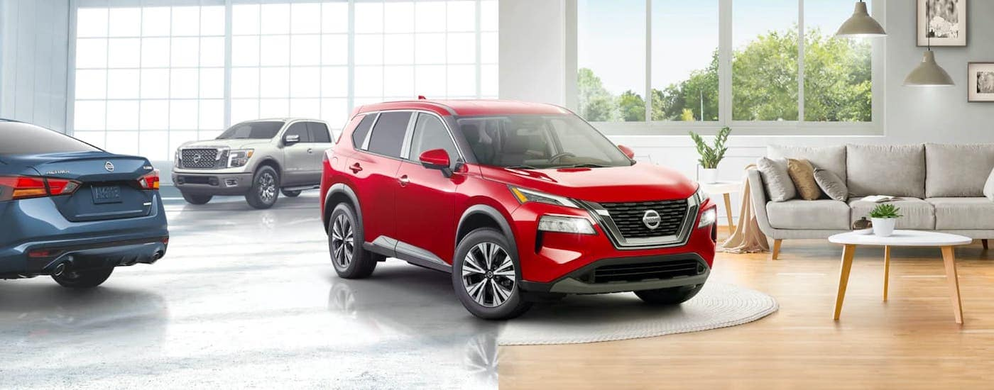 A red 2021 Nissan Rogue shows the left side in a dealership and the right side in a living room after being purchased with Newton Fastpass.