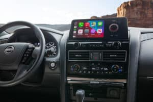 2021 nissan armada has apple car play on a beautiful display