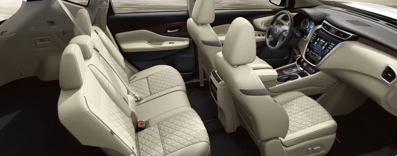 The cream interior of a 2020 Murano, similar to the 2021 Nissan Murano, is shown.