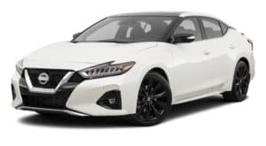 A white 2021 Nissan Maxima is angled left.