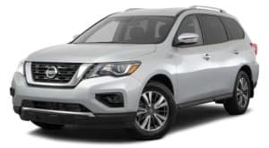 A silver 2020 Nissan Pathfinder is angled left, similar to the upcoming 2021 Nissan Pathfinder.