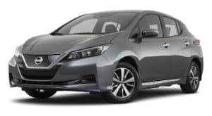 A grey 2021 Nissan LEAF is angled left.