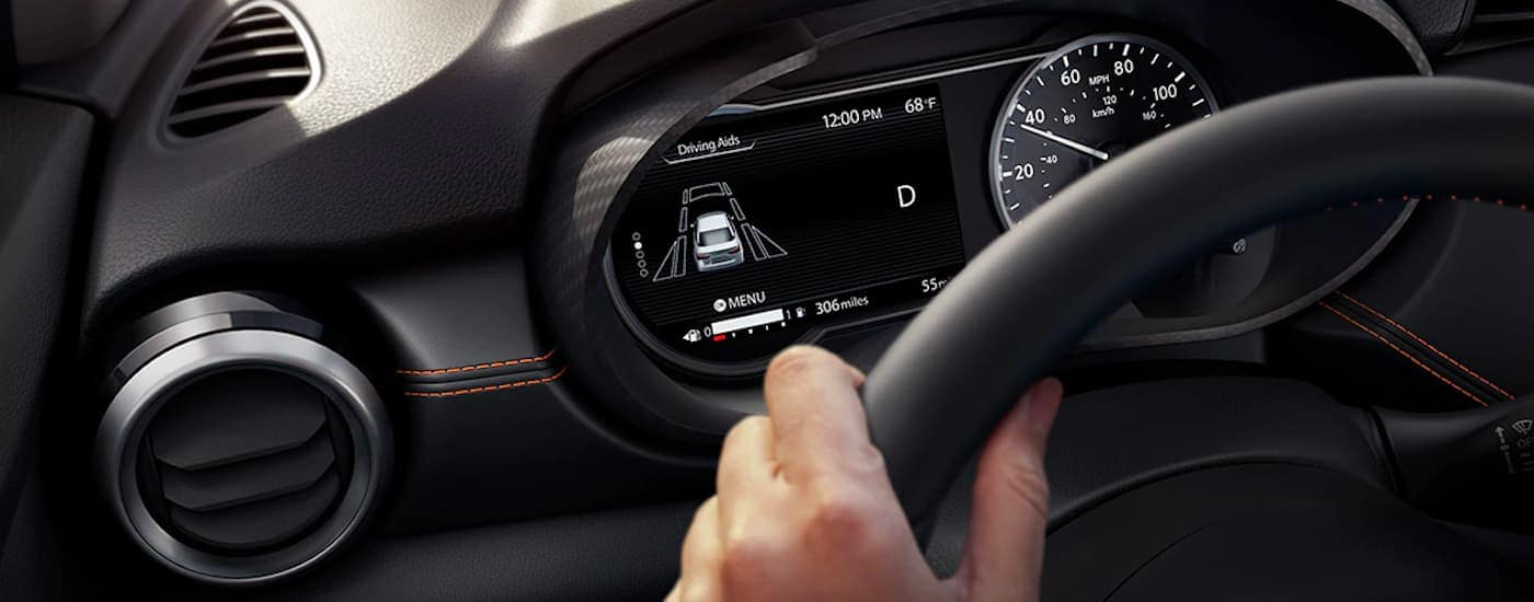 A close up shows the driver assist aids screen on a 2021 Nissan Versa.