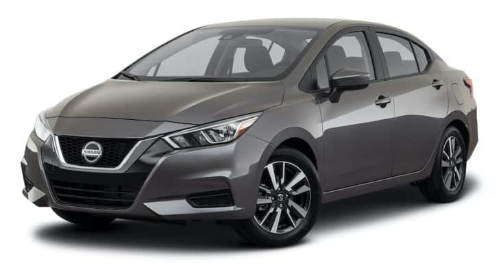 A gray 2021 Nissan Versa is angled left.