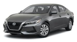 A dark gray 2021 Nissan Sentra is angled left.