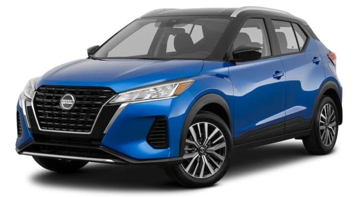 A blue 2021 Nissan Kicks is angled left.