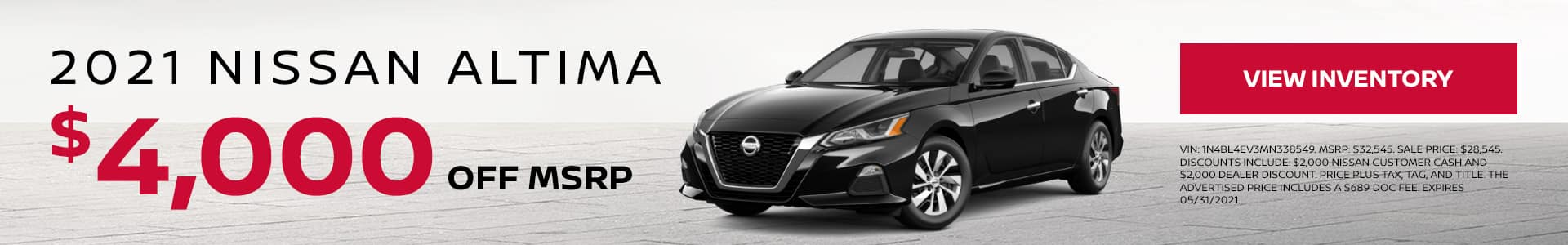 2021 Nissan Altima $4,000 off MSRP