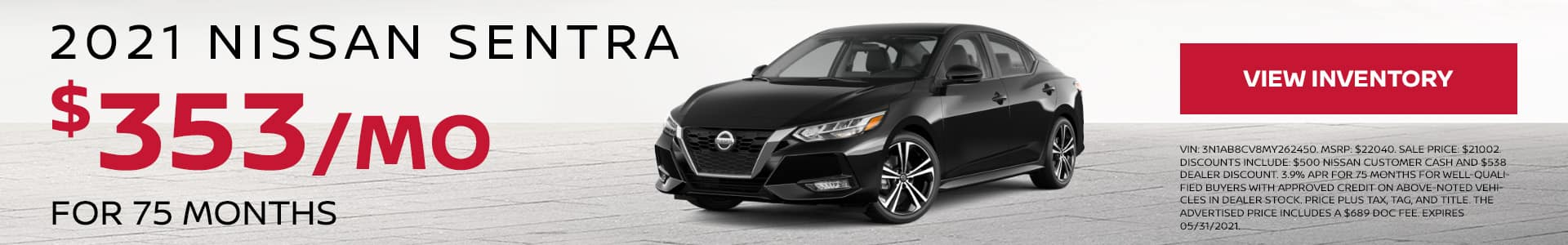 2021 Nissan Sentra $353 Per Month for 75 Months