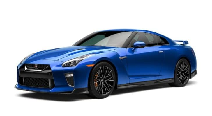 A blue 2021 Nissan GT-R is angled left.
