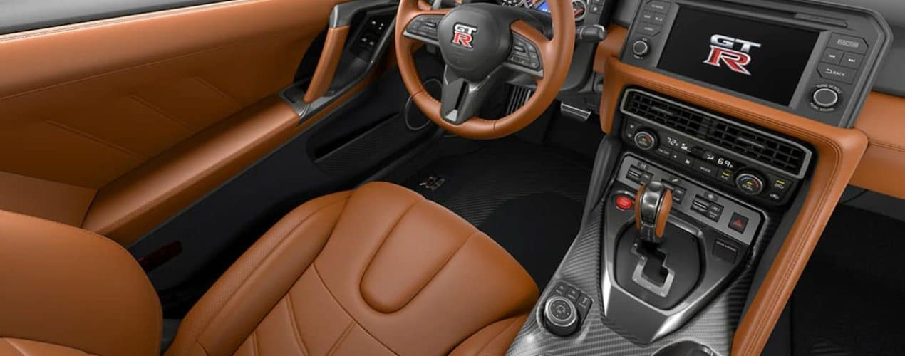 The brown interior is shown in a 2021 Nissan GT-R.