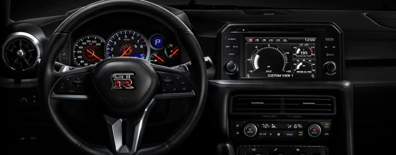 The dashboard and screen are shown in a 2021 Nissan GT-R.