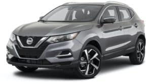 A gray 2021 Nissan Rogue Sport is angled left.