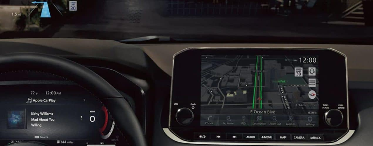 The screens in a 2021 Nissan Rogue are shown in closeup with GPS.