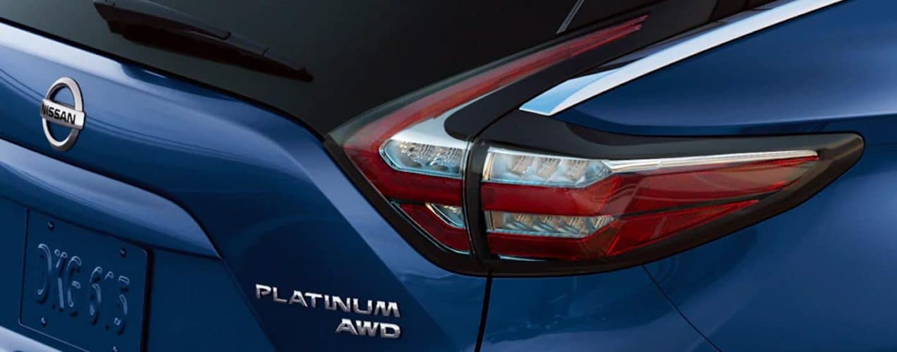 A close up shows the trunk and taillight on a 2021 Nissan Murano Platinum.