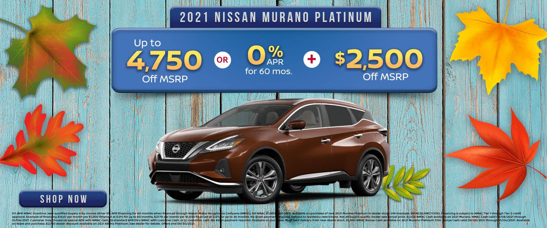 2021 Nissan Murano Platinum Offer in Greenville, TX