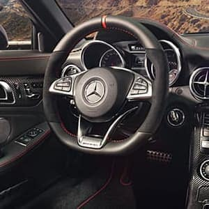 Interior view of the steering wheel of a Mercedes-Benz