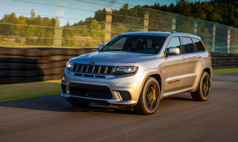 2020 Jeep Grand Cherokee exterior in motion on test track