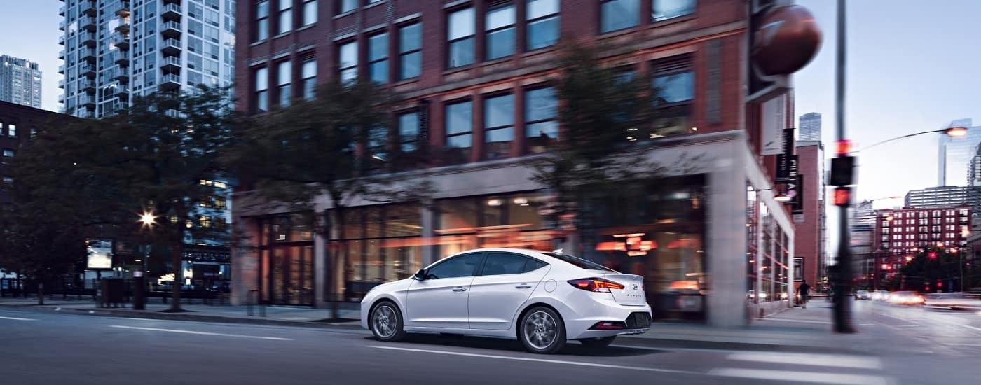 2020 Hyundai Elantra driving through city street