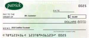 Receive a check from us to buy your car.