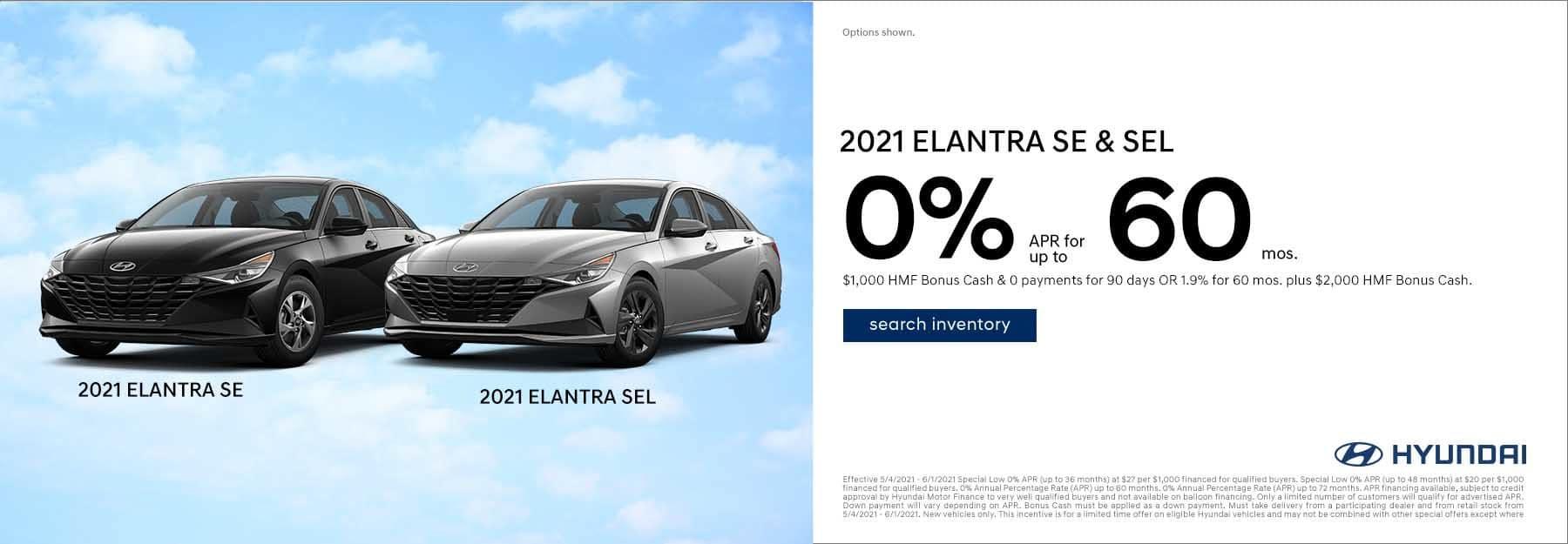 2021 black Hyundai Elantra SE & 2021 Metal Hyundai Elantra SEL