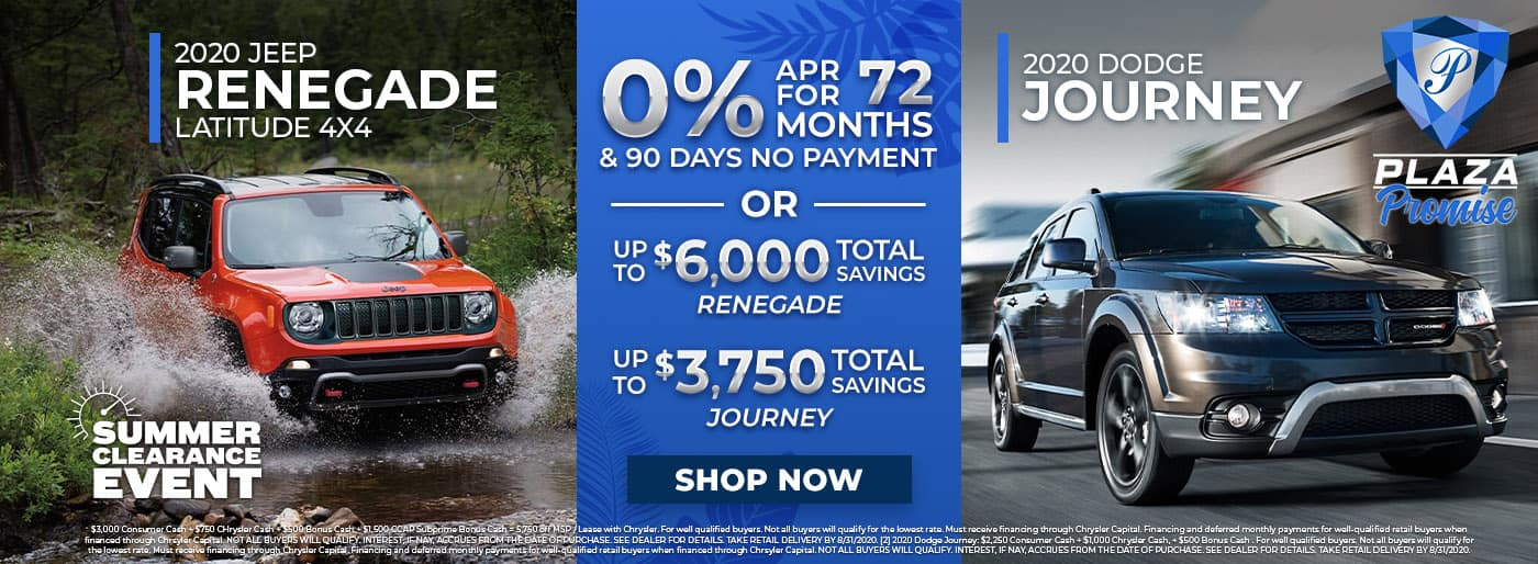 Jeep Renegade and Dodge Journey Summer Clearance Event in Inverness FL