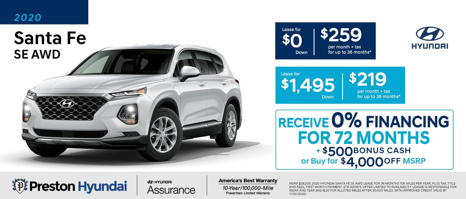 November special on the 2020 Hyundai Santa Fe