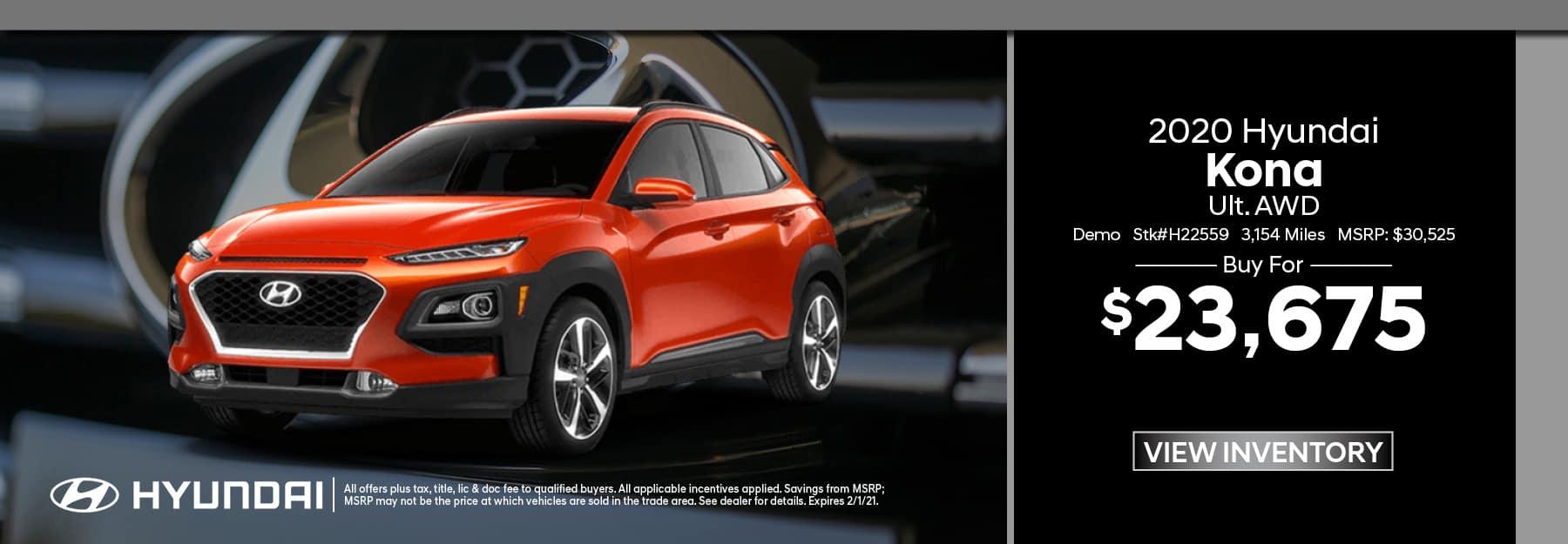 2020 Hyundai Kona Demo
