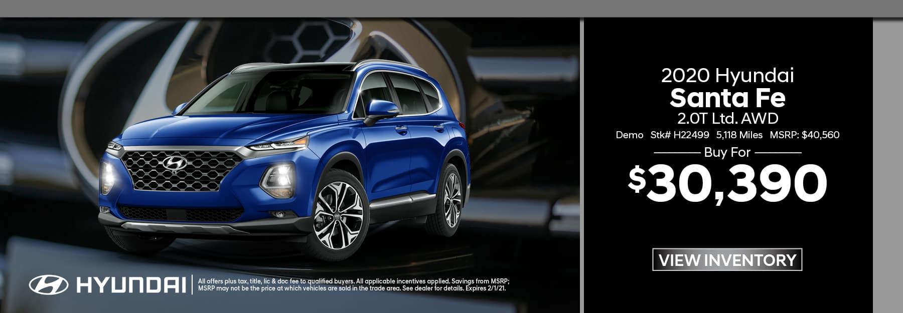 2020 Hyundai Santa Fe Demo
