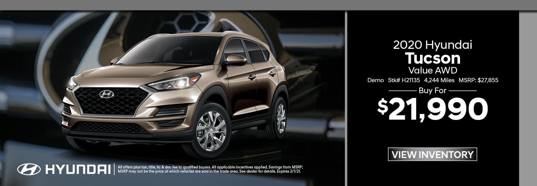 2020 Hyundai Tucson Demo