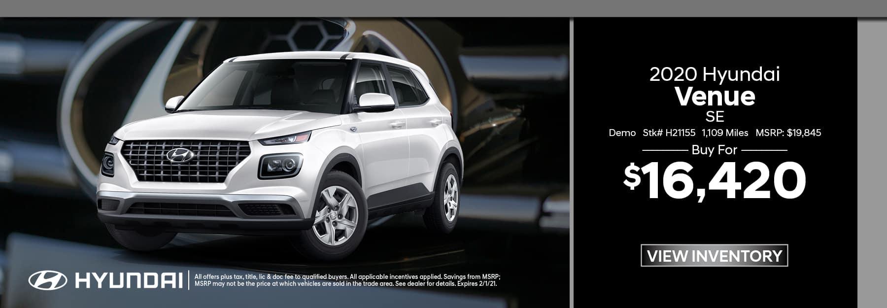 2020 Hyundai Venue Demo