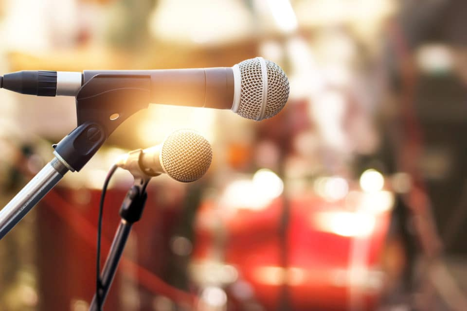 Microphone on concert stage